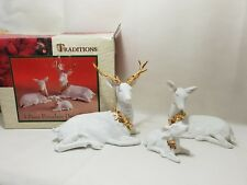 Traditions 3 Piece Porcelain Deer Family Christmas White And Gold Free UK post