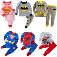 Toddler Baby Kids Boys Girls T-shirt Pants Tracksuit Set Superhero Sleepwear US
