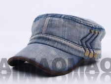 Denim Jean Washed Women Men's Distressed Cadet Box Military Hat Cap Baseball cap