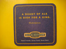 "Beer Coaster ~ ROCK BOTTOM ""A Quart of Ale is Dish for A King"" Shakespeare Quote"