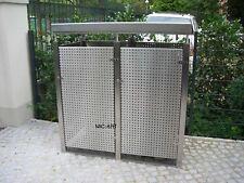 Mülltonnenbox Edelstahl Lochblech mit Pflanzdach