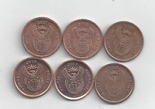 6 DIFFERENT 5 CENT COINS from SOUTH AFRICA (2006, 2007, 2008, 2009, 2010 & 2011)