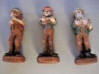 3 1940's Hillbilly Band Painted Wood Composite Figures ~ Ben, Clem & Lem