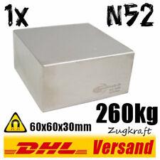 Neodym Magnet 60x60x30mm 6x6x3cm 260kg N52 starker super Dauermagnet Blockmagnet