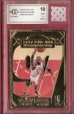 MICHAEL JORDAN GU JERSEY PIECE & GRADED BCCG 10 97 NBA CHAMPS 22 KARAT GOLD CARD