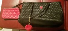 Black Betsey Johnson tote with matching change purse/toiletry bag and keychain