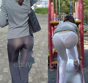 Women's Flare Sheer Pants Leg Semi See-through Long Leggings Silky Bell-bottoms