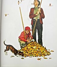 Vintage Norman Rockwell Four Seasons- Grandpa and Me in Fall-Raking Leaves 16x11