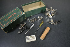 Vintage Box with Singer Sewing Machine Pieces / Attachments