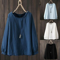 Women Casual Shirt Plain Round Neck Oversize Tops Blouse Long Sleeve Plus