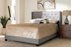 Brady Modern and Contemporary Charcoal Gray Fabric Upholstered Full Size Bed