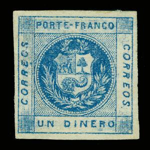 PERU 1860 Coat of Arms - Llama - 1d blue  Sc# 9b  mint MH - Cornucopia on white
