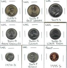 NINE VARIOUS UNCIRCULATED U.S. COINS - NICE MIX OF COINS - ONE PROOF CENT