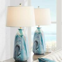Carlton Swirling Blue Marble Table Lamps Set of 2