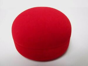 Bright Red Velvet Round Earrings Gift Box-Bargai-S1.2R/B