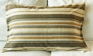 NWT Pottery Barn Franco Stripe Reversible Lumbar Pillow Cover 20x30 Tan Blue
