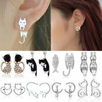 Crystal Pearl Earrings Womens Animal Cartoon Cat Ear Studs Dangle Jewelry Gifts