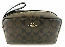 New Authentic Coach F77997 Handbag Purse Boxy Cosmetic Case Signature Brown