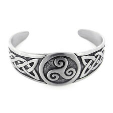"Celtic Knot and Triskele Swirl Adjustable 7"" Pewter Cuff Bracelet"