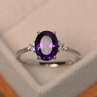 14K Solid White Gold Amethyst 2.15 Ct Genuine Diamond Gemstone Ring Size 5 6 7