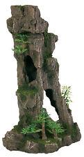 Tall Rocky Cliff Fish Cave with Trees & Plants Aquarium Ornament Rock Decoration