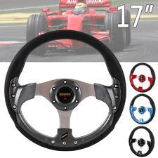 Universal 350mm Racing Sport OMP-Style Suede Flat Steering Wheel Yellow JDM Ring