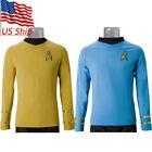 Cosplay The Next Generation Kirk Gold Spock Blue Top Shirt TOS Starfleet Uniform