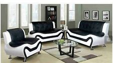 Two-tone Black White Compact Design Modern faux Leather Sofa Set 3 PC