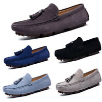 Men's Suede Loafers Tassels Shallow Breathable Casual Driving Moccasins Slip On
