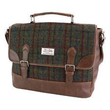 Harris Tweed Green & Red Satchel Ladies or Gent's Briefcase