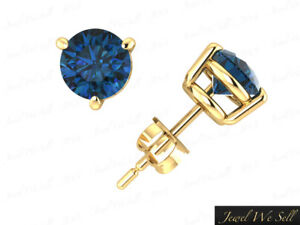 Genuine 1.5Ct Round Cut Blue Diamond Basket Stud Earrings 14k Yellow Gold 3Prong