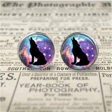 Howling Wolf Nebula Silhoette 12mm Design Glass Art Stud Earrings