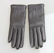 NEW Authentic GUCCI Leather/Cashmere Gloves w/Metal G Button, 7.5, Black, 258156