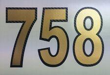 3D Startnummern, Aufkleber Motorrad, Auto, Motocross, MX, Enduro Carbon-Gold