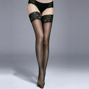 Sexy Women Tights Sheer Lace Top Stay Up Stockings Thigh High Pantyhose Hold-up