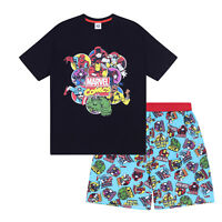 Marvel Comics Hulk Spiderman Iron Man Official Mens Loungewear Short Pyjamas