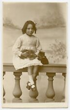 Girl Tissie and two kittens   Cat Vintage Photo  Postcard