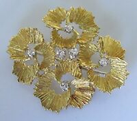 Vintage 18ct yellow gold multi diamond flower pin brooch
