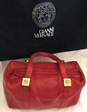 Vintage Versace Red Leather Gold Medusa Handbag With Dust Bag