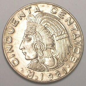 1981 Mexico Mexican 50 Centavos Cuauhtémoc Coin VF+