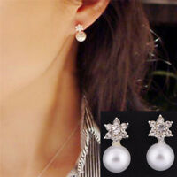 Snowflake Earrings Crystal Rhinestone Pearl Ear Stud Earrings Women Jewelry N MW