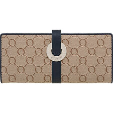 NEW OROTON Signature Fabric And Leather Slim Clutch Wallet Navy BNWT RRP $215