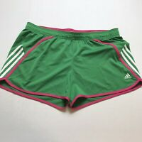 Adidas Womens Size XL Green Pink Athletic Workout Shorts A1415