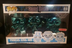 Funko Pop! DISNEY Haunted Mansion Phineas, Ezra & Gus Chrome 3 Pack Target NEW