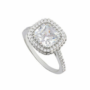 Square Princess Sterling Silver CZ Ring 9mm Center Stone Sparkle Accent Stones