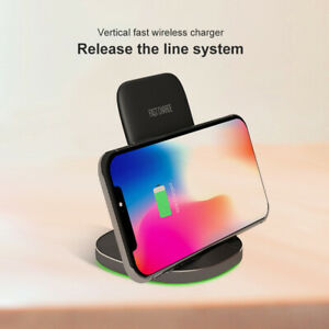 10W Qi Vertical Wireless Fast Charger Charging Bracket For iPhone Samsung Huawei
