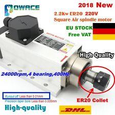 【DE】Square 2.2KW 220V ER20 Air Cooled Spindle Motor 6A for CNC Router Engraving