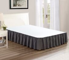 """Chezmoi Collection Solid Gray Ruffled 15"""" Drop Bed skirt Dust Ruffle, Queen"""