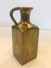 Collectible Solid Brass Pitcher Vase Decor Square Heavy Made In India Mint