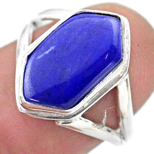 5.38cts Hexagon Natural Blue Lapis Lazuli Silver Solitaire Ring Size 7 T48552
